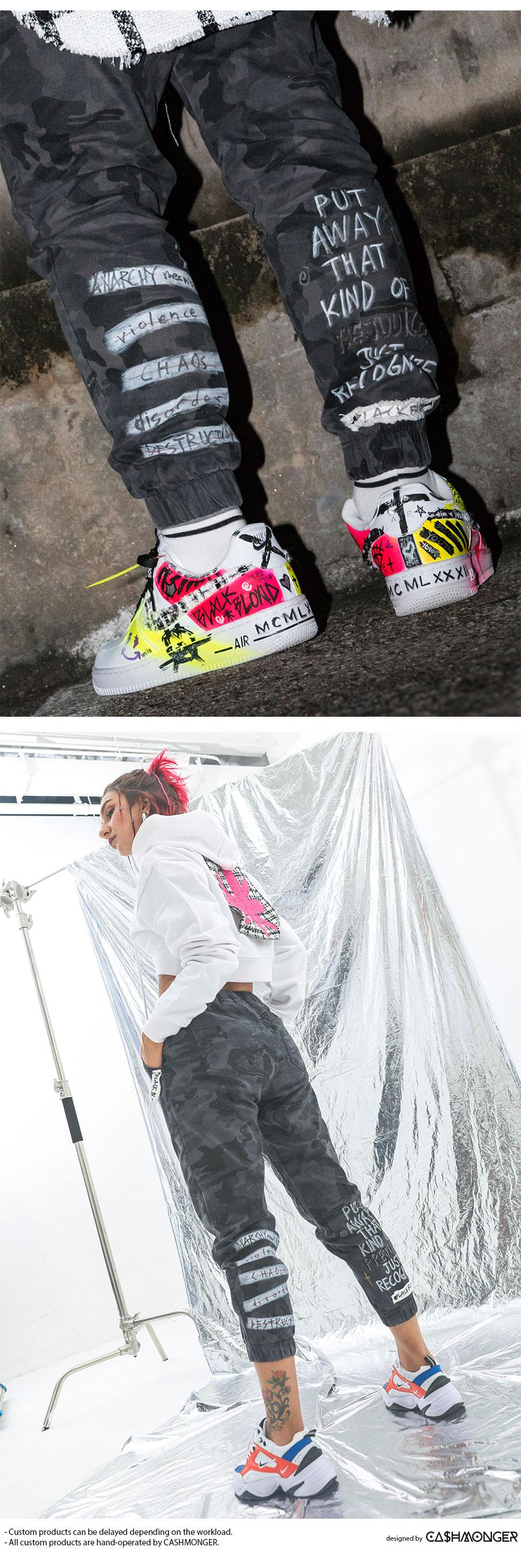 블랙블론드 BLACKBLOND - BBD Graffiti Camo Jogger Pants (Grey)