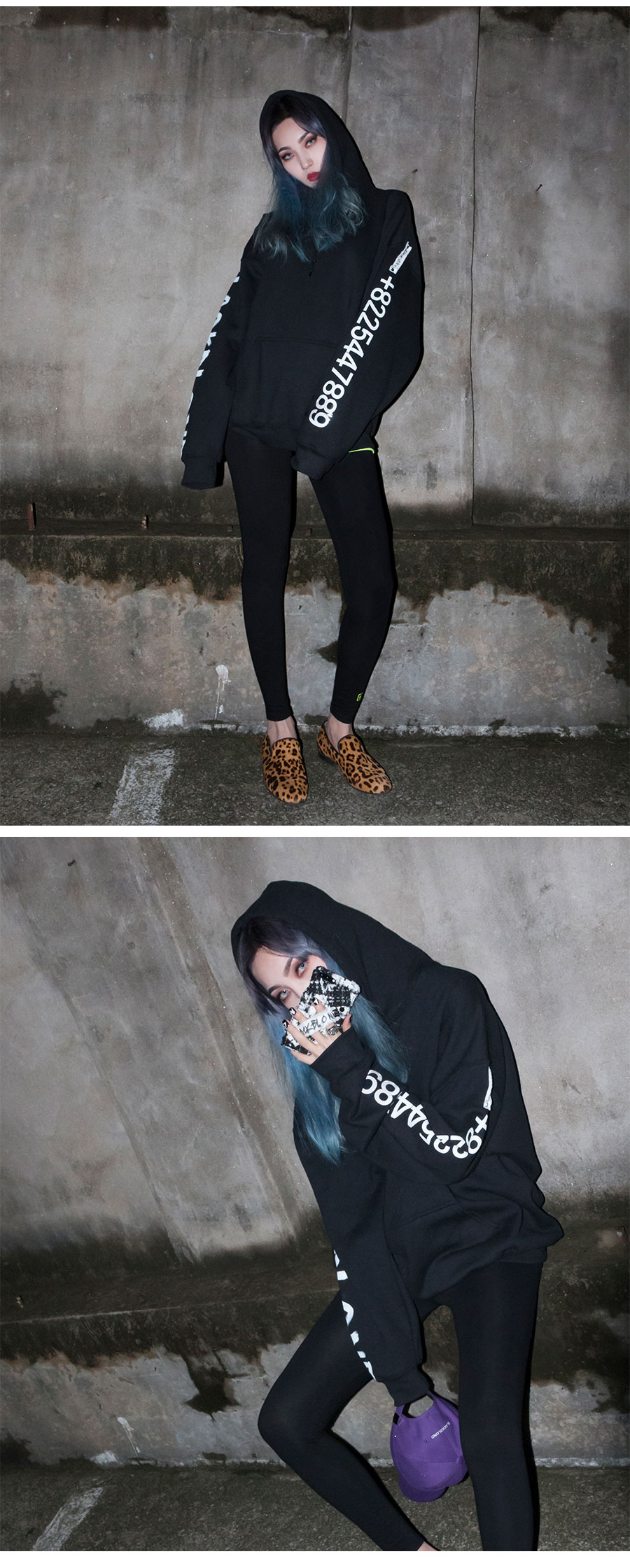 블랙블론드 BLACKBLOND - BBD Graffiti Number Hoodie (Black)