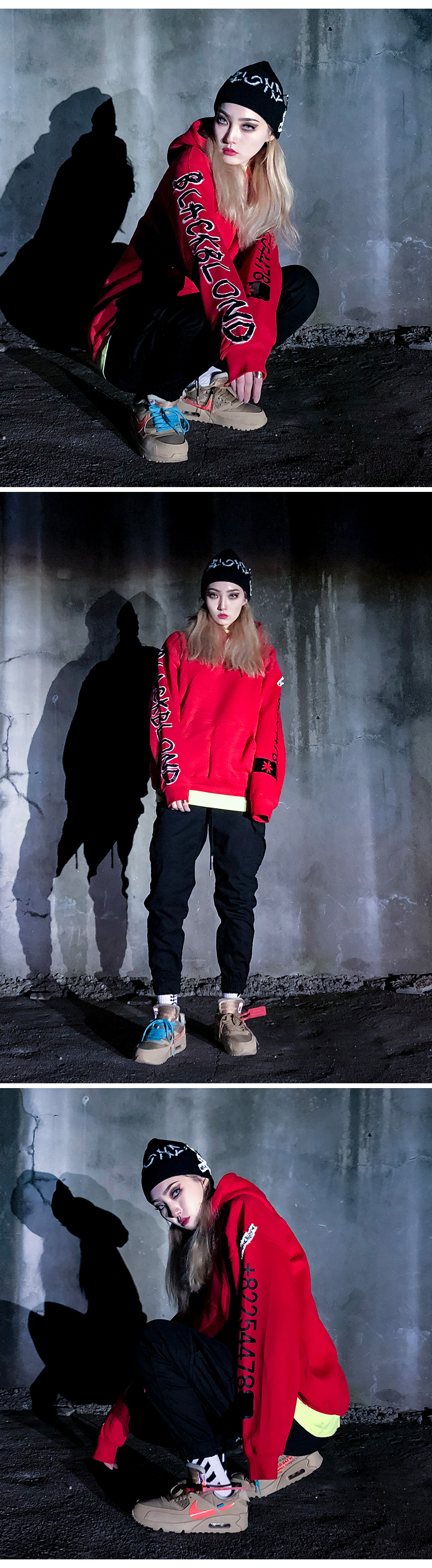 블랙블론드 BLACKBLOND - BBD Graffiti Number Hoodie (Red)